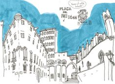 plaça del rei by lapin barcelona, via Flickr- Urban Sketchers