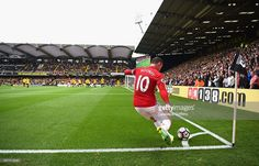 Wayne Rooney of Manchester United takes a corner during the Premier League match between Watford and Manchester United at Vicarage Road on September 18, 2016 in Watford, England.