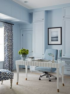 Blue office, dotted curtain, white desk, custom built in cabinets | Andrew Howard