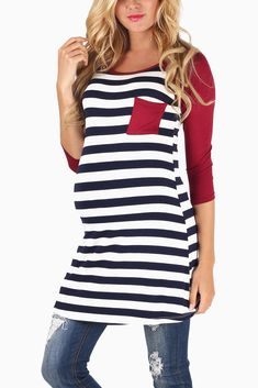 Navy-White-Striped-Burgundy-Colorblock--3/4-Sleeve-Maternity-Top #maternity #fashion #cutematernityclothing #cutematernitytops #falloutfits #falltrends