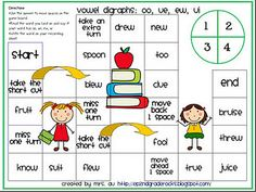Board game with vowel digraph practice for oo, ue, ew, and ui. free