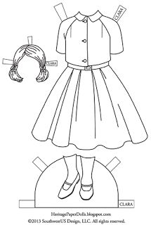 In the 1950s, fashion designs had bold, clean lines, and simple shapes. Clara's dress has a wide skirt in a style very typical of the dresses in the 50s.