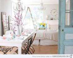 15 Pretty and Charming Shabby Chic Dining Rooms, dreamy whites