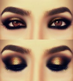 Really love this look.  Smokey Bronze. I think expresso brown on the outside inside of the black would look so good. i like this but i would like something not so dramatic for work or dates.