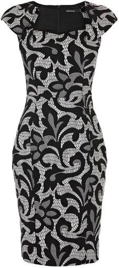Karen Millen Jacquard Lace Effect Pencil Dress - Lyst