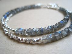Labradorite and Hill Tribe Silver wrap bracelet by KSoleauDesigns