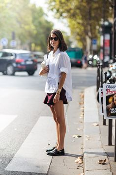 Leandra rocking that white shirt situation. Paris. #LeandraMedine #ManRepeller
