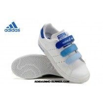 low priced 70a11 c4340 Adidas Stan Smith Gradient Boucle Blanc Bleu Femmes Adidas Stan Smith Blanc  Chaussures Soldes-20