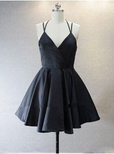 Simple V-neck Sleeveless Short Black Taffeta Homecoming Dress with Spaghetti…