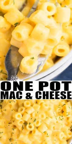 MAC AND CHEESE RECIPE- Quick, easy, made in one pot with simple ingredients on stovetop. Can also be baked. It's a delicious 30 minute weeknight meal and super creamy and loaded with mozzarella, cheddar cheese! From OnePotRecipes.com #dinner #dinnerrecipes #cheese #macandcheese #macaroni #quickandeasy #onepot #vegetarian #30minutemeal