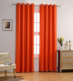 MYSKY HOME Solid Grommet top Thermal Insulated Window Blackout Curtains, 52 x 84 Inch, Orange, 1 Panel