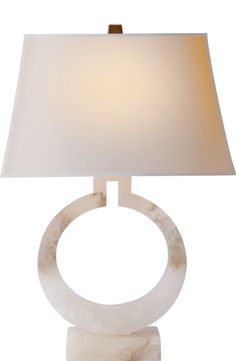 Large Ring Table Lamp in Alabaster with Natural Paper Shade