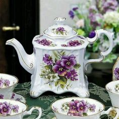 English Purple Square English Teapot~love this tea set! Vintage Tea, Vintage China, Antique China, Tea Cup Saucer, Tea Cups, English Teapots, China Tea Sets, Teapots And Cups, My Cup Of Tea