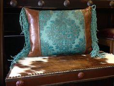 Turquoise Tooled leather Pillow