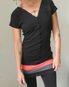 tunic dress/V-neck/short sleeved/Black with Coral Pink and Cement Grey by joclothing on Etsy https://www.etsy.com/ca/listing/463551285/tunic-dressv-neckshort-sleevedblack-with