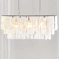 Large Rectangle Hanging Capiz Pendant- Why can't you cost less? West Elm Chandelier, Capiz Chandelier, Rectangle Chandelier, White Chandelier, Chandelier Lighting, Entry Chandelier, Kitchen Lighting Fixtures, Kitchen Pendant Lighting, Dining Room Lighting