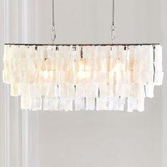 Large Rectangle Hanging Capiz Pendant