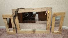 Simple Pallet Mirror Set Pallet Mirror, Mirror Set, Custom Woodworking, Simple, Home Decor, Decoration Home, Room Decor, Home Interior Design, Home Decoration