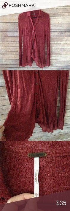 Free People Button Down Tunic sz XS Gorgeous wine red Tunic from Free People- it flares at the bottom so it looks great with leggings! Free People Tops Tunics