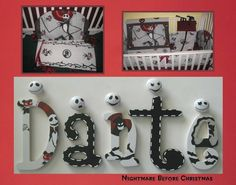 Nightmare Before Christmas Nursery Wall Decor Letters NBC Jack Skellington… Nursery Wall Decor, Nursery Themes, Nursery Ideas, Room Ideas, Nightmare Before Christmas Dolls, Gothic Baby, Baby Bats, Christmas Baby Shower, Painted Letters