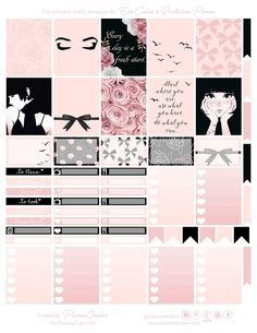 Free Printable Blush & Black Planner Stickers {page one} Planner Onelove