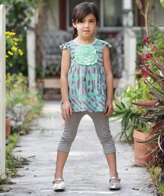 Take a look at the Lime Hearts in Bloom Tunic & Leggings - Toddler & Girls on #zulily today!