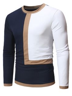 Patchwork Casual Round Neck Slim Long Sleeve T-shirt – freshidear African Attire For Men, African Clothing For Men, Mens Clothing Styles, Apparel Clothing, Stylish Mens Outfits, Stylish Shirts, Casual Shirts, Nigerian Men Fashion, African Men Fashion