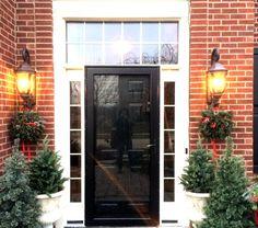 Black Front Door With Storm Door Black Entry Doors, Black Exterior Doors, Entry Door With Sidelights, Door Entryway, Replacing Front Door, Wooden Sliding Doors, Front Door Colors, Patio Doors, Door Ideas