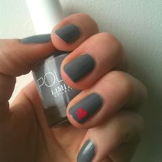 Grey nails with a little pink heart