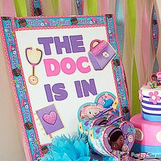 """The doc is in"" with this DIY welcome sign!  Take a white poster board and make it ""all better"" with a few Doc McStuffins stickers, cutouts & streamer border! Click for this & more party ideas!"