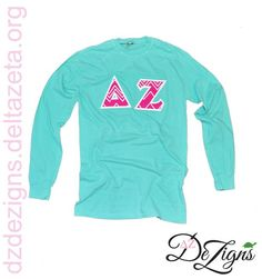 DZ DeZigns Apparel - Chalky Mint Long Sleeve with Pink Sewn-On Delta Zeta Zig Zag chevron styled Letters!!