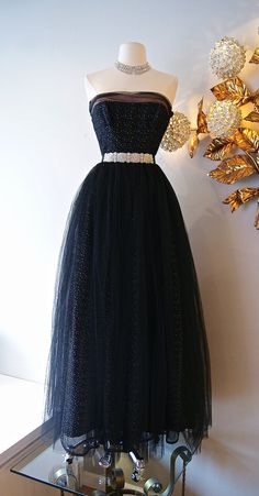 50s Dress // Vintage 1950s Prom Dress Strapless Black Tulle Tiny Polka Dots Gown on Etsy, $298.00