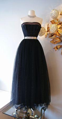 50s Dress // Vintage 1950s Prom Dress Strapless by xtabayvintage, $398.00