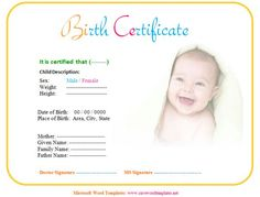 Birth Certificate Template Free Download In Doc  Brunch