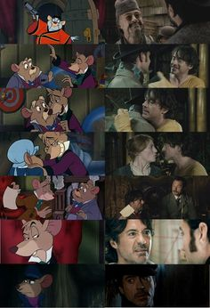 """Two movies I love! """"The Great Mouse Detective"""" and """"Sherlock Holmes: A Game of Shadows"""" - compare and contrast. Sherlock Holmes Robert Downey, Sherlock John, Robert Downey Jr, Disney Love, Disney Art, Disney Pixar, Holmes Movie, The Great Mouse Detective, Elementary My Dear Watson"""