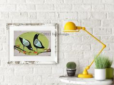 Artist Shanni Welsh's Black Bird art print. Black Birds on berry branches. Bird wall art.