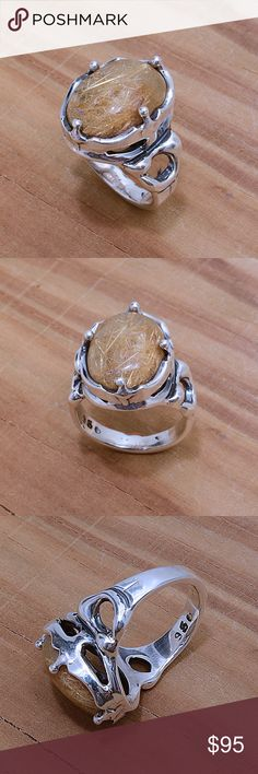"""Sterling Silver & Rutilated Quart Ring Stamped """"950"""". Higher Sterling finess than 925 This is not a stock photo. The image is of the actual article that is being sold Size: 7. Sterling silver is an alloy of silver containing 92.5% by mass of silver and 7.5% by mass of other mThe sterling silver standard has a minimum millesimal fineness of 925. The fitness on this ring is 950. All my jewelry is solid sterling silver. I do not plate. crafted in Taxco, Mexico. Will ship within 2 days of order…"""