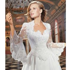 d96ccc0d8b4 Find More Wedding Jackets   Wrap Information about Long Speaker Sleeves Lace  Wedding Boleros Bridal Jackets
