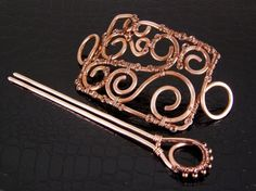 Hammered Copper Hair Slide For Big Hair Hand Crafted Hair Accessory