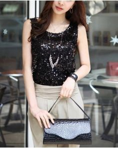 Black Sequin Party Top