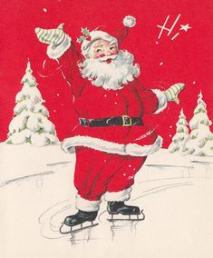Vintage santa claus on ice skates christmas greeting card. Vintage Christmas Images, Old Christmas, Old Fashioned Christmas, Retro Christmas, Vintage Holiday, Christmas Items, Christmas Pictures, Christmas Collage, Christmas Mantles