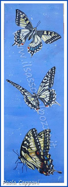 Volo di farfalle-Butterfly Dipinto in acrilico su tela 20x60x3,5 cm. Paola Capponi