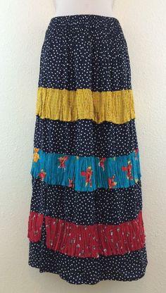 HANDMADE BOUTIQUE Hippie Peasant Polka Dot Long Ruffle Maxi Skirt Small Medium #Handmade #ALine