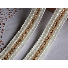 Fine chain bead lace border,faux pearl DIY cloth decorations,Decorate bag dress coat cardigan kids women girls wear accessory