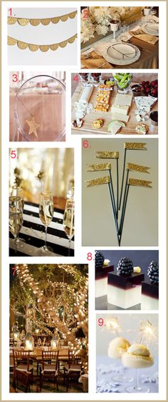 Here are a few ideas to celebrate the New Year in style! Hang glitter bunting as a little festive decor above a drink or dessert table. Make your own using glitter paper, scissors, glue and string. Casino Theme Parties, Casino Party, Birthday Parties, Nye Party, Party Time, New Years Activities, Good Day Song, Idee Diy, Time To Celebrate