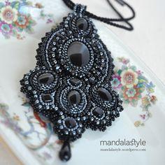 Bead Embroidery Deep Black Pendant.