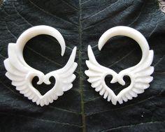 FREE US Shipping 4G - 5 mm Carved  Buffalo Bone ,Tribal Gauged Earrings, Organic gauge, Body Piercing jewelry L267. $17.00, via Etsy.
