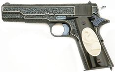 Ken Hurst Engraved and Gold Inlaid Colt Government Model PistolLoading that magazine is a pain! Excellent loader available for your handgun Get your Magazine speedloader today! http://www.amazon.com/shops/raeind