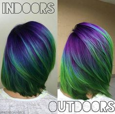 Aurora Borealis Hair Is the New Dreamy Trend in Rainbow Dye - Hair - Hair Designs Rainbow Dyed Hair, Rainbow Hair Colors, Pelo Multicolor, Fantasy Hair, Coloured Hair, Haircut And Color, Cool Hair Color, Peacock Hair Color, Crazy Hair