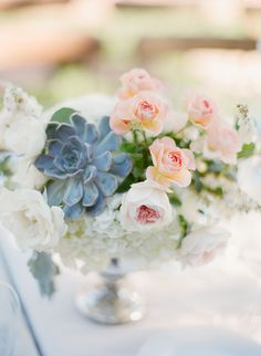 #succulent, #rose  Photography: KT Merry - ktmerry.com Event Planning: MAP Events - mapevents.com Floral Design: Cherries - cherriesflowers.com/  Read More: http://www.stylemepretty.com/2013/05/16/sonoma-wedding-from-kt-merry/